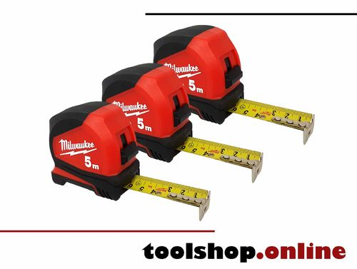 Milwaukee 3er-Pack Pro-Compact Bandmaß 5m, Bandbreite 25mm 4932459593