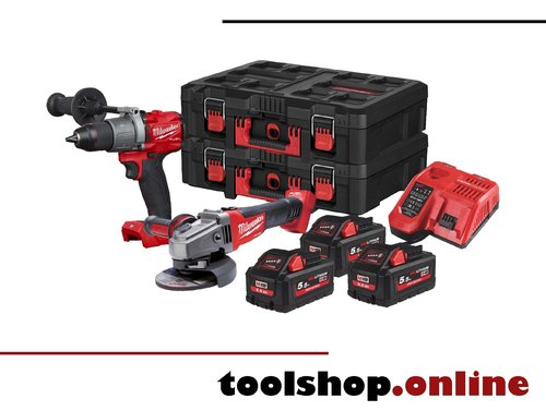 Milwaukee M18 FPP2D2-553P Set: FPD2, CAG125X, 3xHB5.5, M12-18FC, Packoutbox